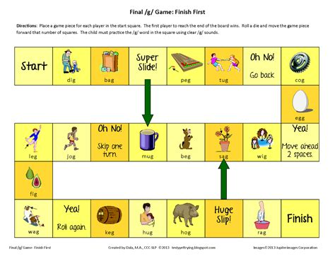 Turn all the cards over and arrange them on a desk. Testy yet trying: Final G Printable Speech Game: Finish First Game Board