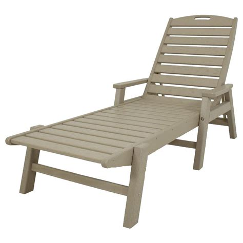 polywood nautical sand stackable patio chaise lounge