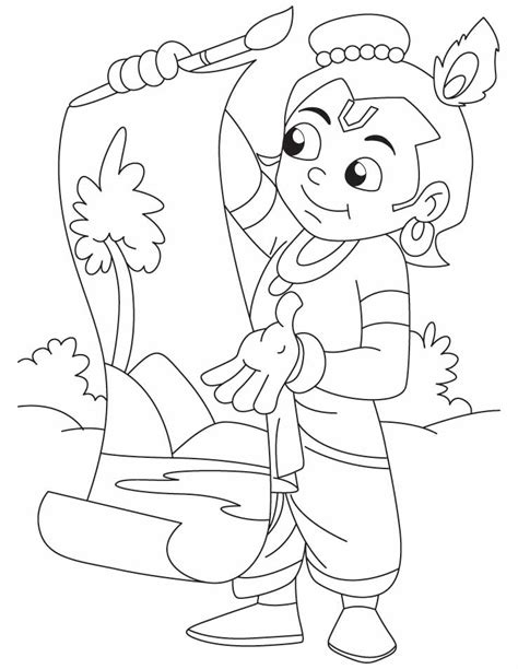 krishna  great artist  painting coloring pages