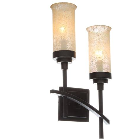 hton bay 2 light iron oxide sconce with scavo glass