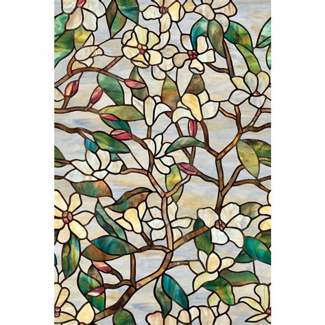 Decorative Window Stained Glass - artscape 24 in x 36 in summer magnolia decorative window