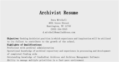 Archivist Resumearchivist Resume by Resume Sles Archivist Resume Sle