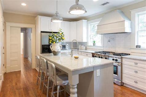 gray beadboard kitchen island  turned legs transitional kitchen