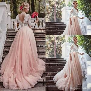 western country garden long sleeves wedding dresses With long sleeve blush wedding dress