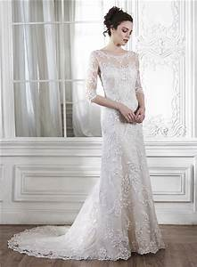 mermaid illusion neckine v back 3 4 sleeve lace wedding dress With 3 4 sleeve wedding dress