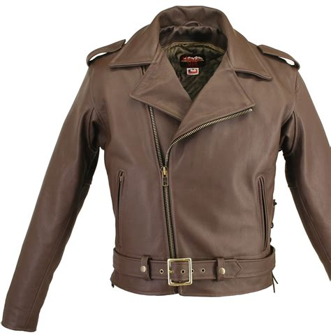 brown biker style full belted brown motorcycle leather jacket with side and