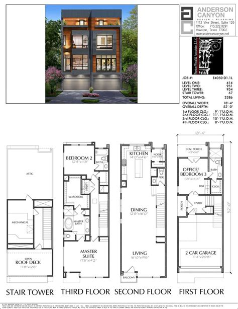 duplex townhouse plan   images narrow house