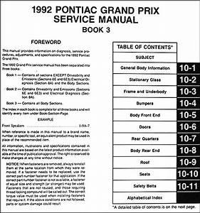 1992 Pontiac Grand Prix Repair Shop Manual 3 Volume Set 92
