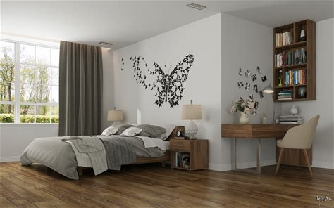 deco mural chambre bedroom butterfly wall interior design ideas