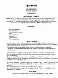 Medical Billing Specialist Cover Letter Medical Records Specialist Resume Resume Teamplates