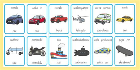 Ngā Mea Haere Things That Go Flashcards English/te Reo