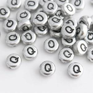 7mm silver acrylic alphabet beads letter quotqquot beadbubble With big letter beads