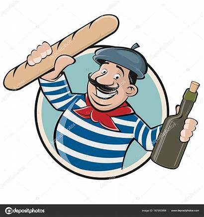 Baguette Clipart French Funny Wine Illustration Vector