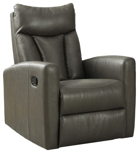 recliner swivel glider charcoal gray bonded leather