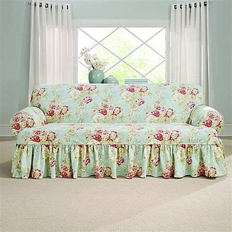 high back sofa slipcovers sure fit ballad bouquet by waverly t cushion sofa