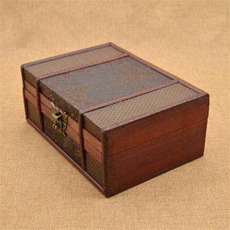 retro wooden jewellery box decorative trinket storage box