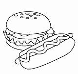Burger Colouring Pages Hotdog Picolour sketch template