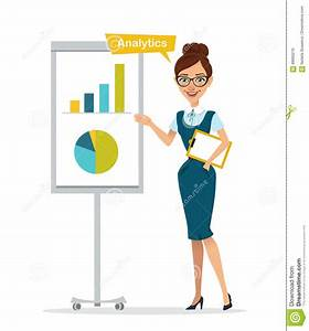 Woman With Tablet Stands Near Flipchart  Woman Show Chart  Diagram  Analytics  Stock Vector