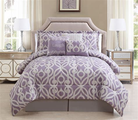 7 piece laugh lavender taupe comforter set