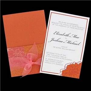his hers coral orange flowers wedding invitations With his and hers wedding invitations hobby lobby
