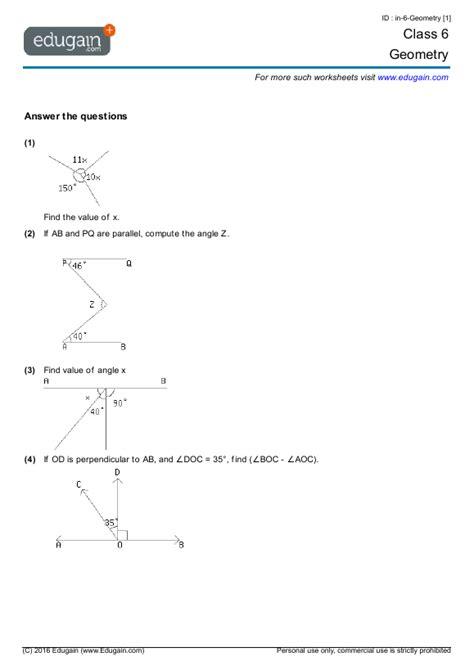 year  math worksheets  problems geometry edugain