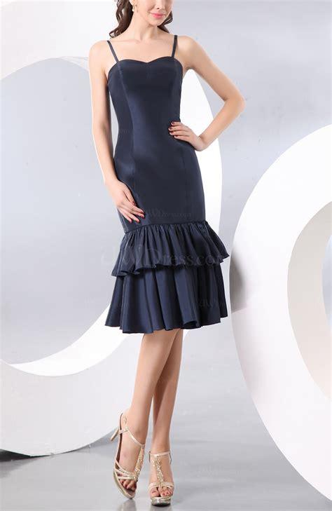 navy blue elegant sheath sleeveless zipper ruffles