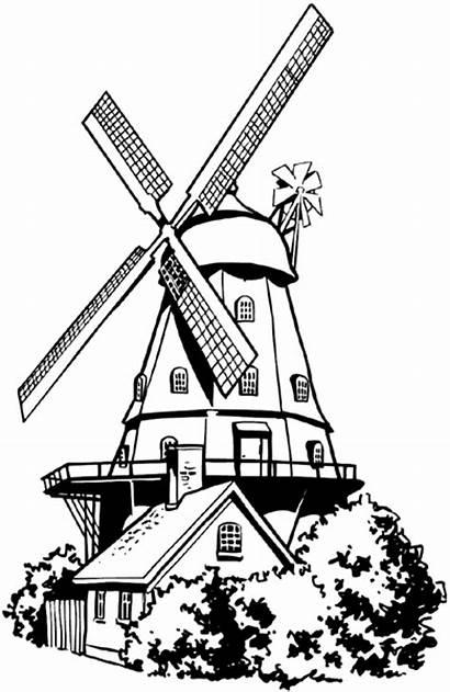 Windmill Dutch Clipart Cartoon Vector Line Drawing