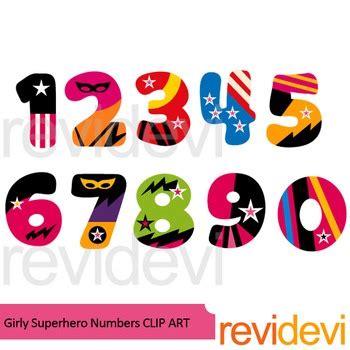 girly superhero numbers clipart  revidevi teachers pay