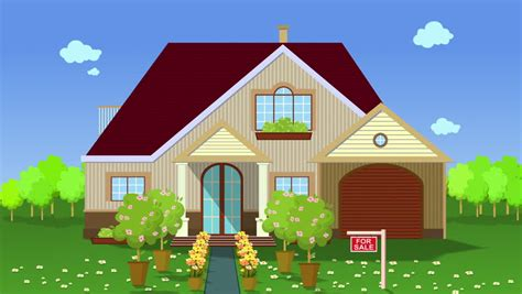 Stock Video Clip Of Illustration Of House For Sale. Flat Animation