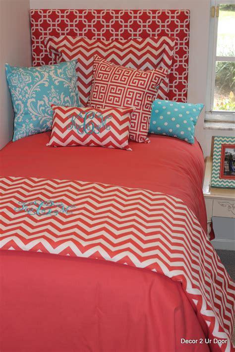 Coral And Aqua Dorm Room Bedding Decor 2 Ur Door