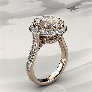 morganite halo engagement ring with diamonds in rose gold With rose gold and white gold wedding rings