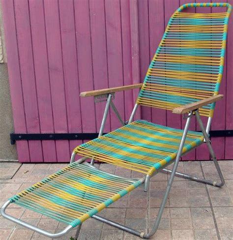 chaise scoubidou chaise longue 39 fils 39 scoubidou jaune et turquoise
