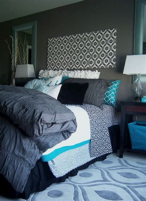 gray  turquoise bedroom contemporary bedroom