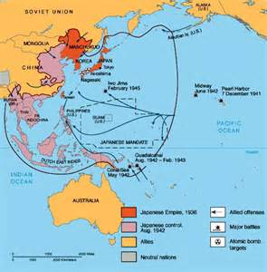 Map of Asia and Pacific World War II