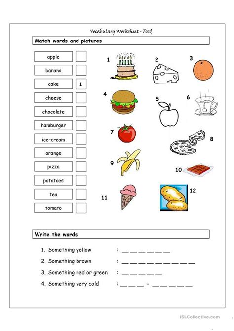 vocabulary matching worksheet food worksheet  esl
