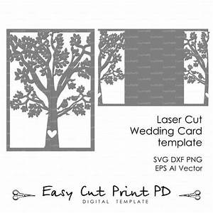 bride groom tree bird wedding card cover love story With laser cut wedding invitations svg