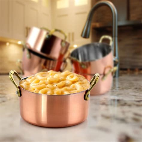 gibson gibson home rembrandt  piece stainless steel   mini dutch oven  copper platting