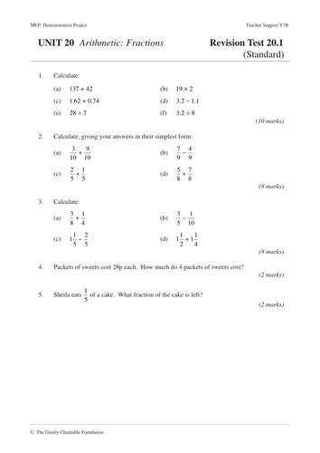 Fractions (mep  Year 7  Unit 20) By Cimt  Teaching Resources Tes