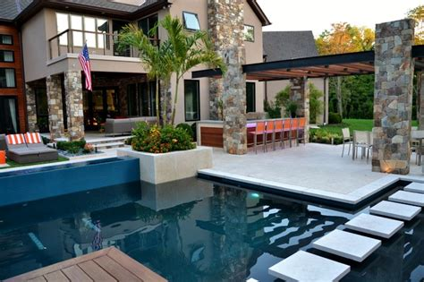 Modern Outdoor Kitchen And Pool Construction Franklin