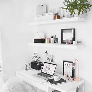 Rose Gold Wandfarbe : minimal desk ikea floating shelves with rose gold detail deko pinterest schreibtische ~ Frokenaadalensverden.com Haus und Dekorationen