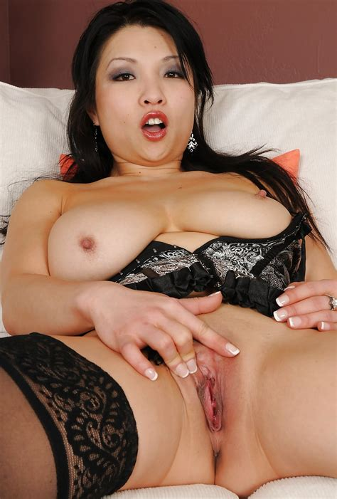Mature Asian Stockings Heels Shaved Pussy And Big Tits