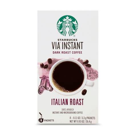 Part of huffpost food & drink. Starbucks VIA Instant Italian Roast Dark Roast Coffee - 8ct : Target