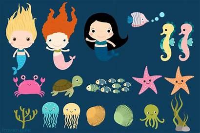 Sea Underwater Clipart Clip Animals Kawaii Under