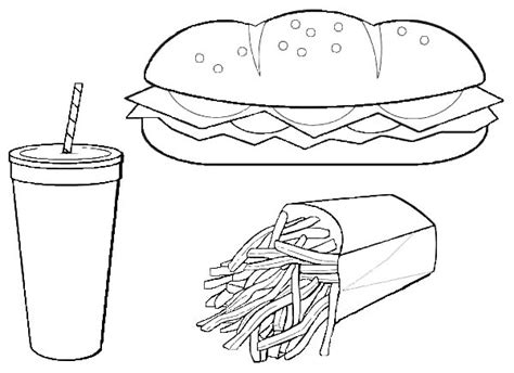 Eat Hot Dog And French Fries With Coke Junk Food Coloring
