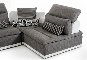 Made in italy grey fabric and white leather sectional sofa for Sectional sofas el paso texas