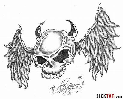 Skull Evil Tattoos Tattoo Drawings Designs Drawing