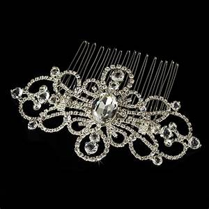 Silver Plated Rhinestone Swirl Couture Bridal Hair Comb