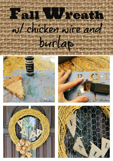 make your own fall wreath fall wreath with chicken wire and burlap debbiedoos