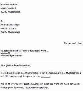 Fristgerechte Kündigung Mietvertrag : k ndigungsschreiben mietvertag muster zum download ~ Watch28wear.com Haus und Dekorationen