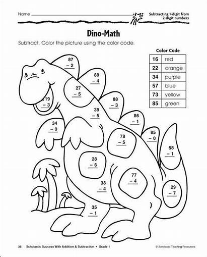 Coloring Addition Math Worksheets Grade Worksheet Digit